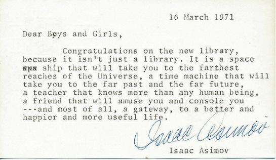 La carta de Isaac Asimov a los niños de Troy