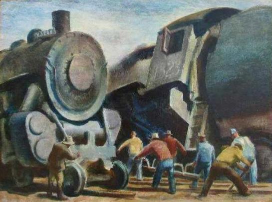 "Barse-Miller-""Sabotage""(1930)-öleo sobre madera"