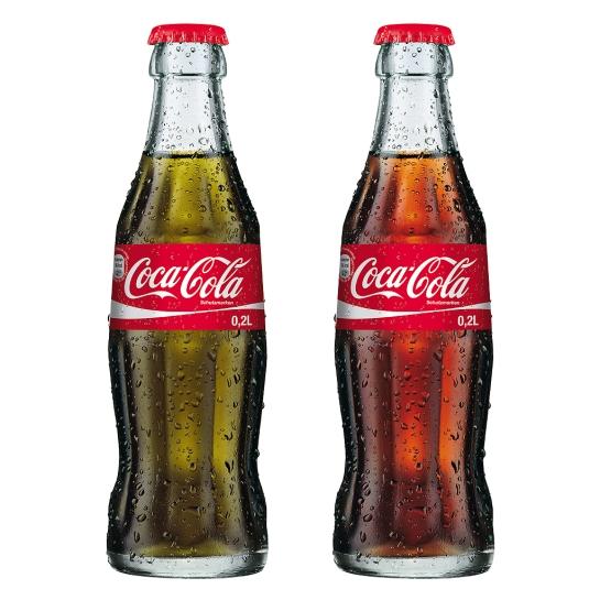 Cocacola, con y sin colorante (una simulación desafortunada, sin duda)