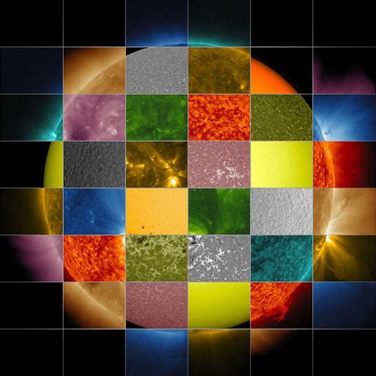 No es una carta de ajuste -quien las recuerde- Es el sol, amigos. Nuestro Sol visto con diferentes longitudes de onda.