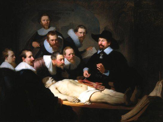 """Rembrandt, """"lección de anatomía del Dr. Nicolaes Tulp"""", 1632"""