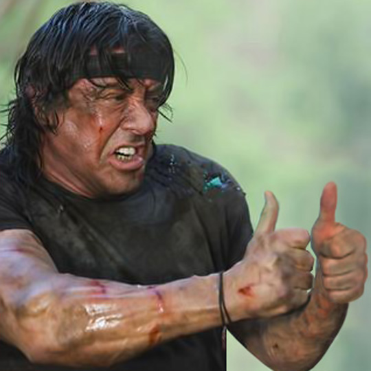 Rambo thumb-up