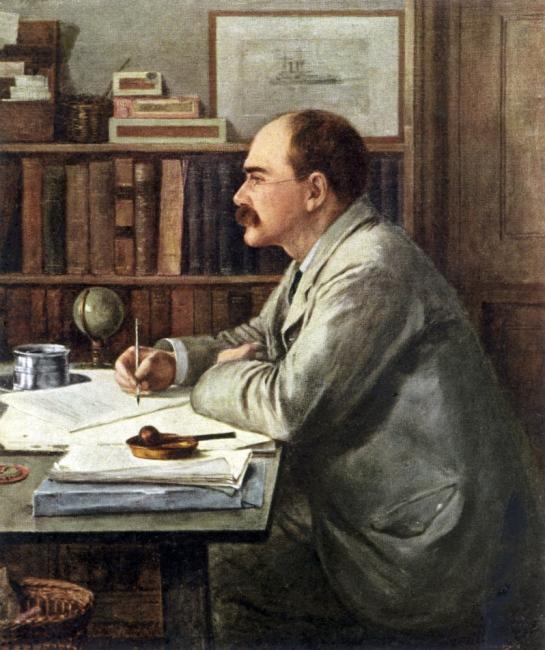 El escritor Ruyard Kipling en su despacho