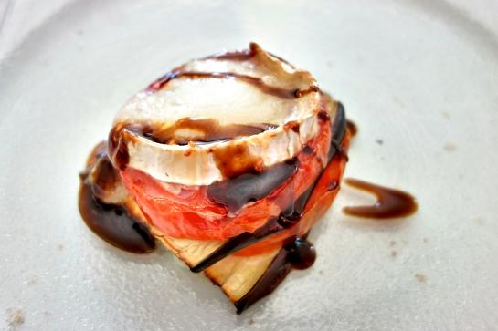 Restaurante Plácido, Lasaña de berenjena y tomate con rulo de cabra gratinado