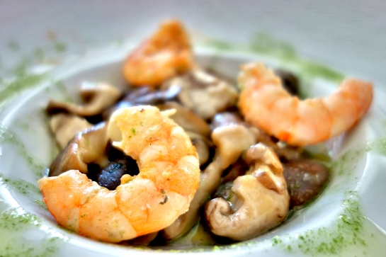 Restaurante Plácido, Salteado de setas Shitake y langostinos